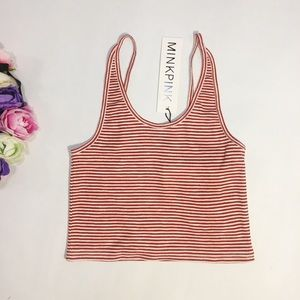 New MINKPINK red white striped crop top size XS